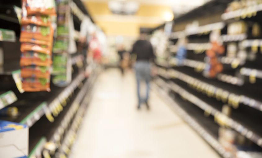 Blurred image of supermarket store